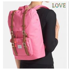 "Herschel Supply Hot Pink Backpack Magnetic snap-tab flap with cinch-cord closure. Adjustable shoulder straps. Exterior snap-tab flap pocket with zip closure beneath; key clip. Interior hook-and-loop-closure pockets; padded laptop compartment. Fits most 15"" laptops. 100% polyester. Color - Hot Pink By Herschel Supply Co.; imported. Brand New store display without Herschel tags. Has a store tag marked for returns.Sorry no Trades. Herschel Supply Company Bags Backpacks"