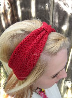Knitted Headband-The Nadalie Headband-Ear warmer-turban style headband-Bow Headband-In Berry. $22.00, via Etsy.
