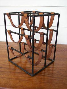 Arthur Umanoff Iron & Leather Wine Rack Mid Century Eames McCobb era Raymor