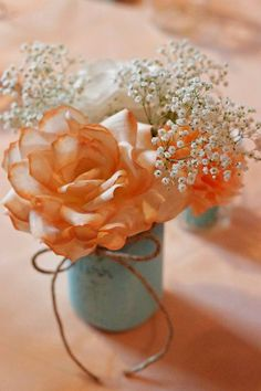 9 Tourquoise Mason Vase with Peach and Ivory by PerennialParchment, $12.00