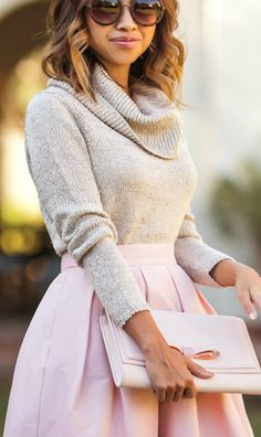 Turtleneck + blush midi skirt.