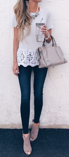 #fall #outfits women's white shirt, blue skinny jeans, and pair of grey sandals outfit