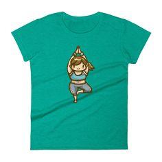 Heather Green Yoga Girl Short Sleeve T-Shirt for Women