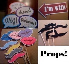 DIY photo booth props LOVE the word bubbles!