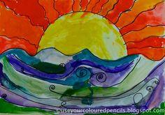 warm sky, cool sea  Use Your Coloured Pencils