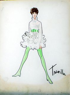 William Travilla - Costumes - Esquisses et Croquis - La Vallée des Poupées - 1967