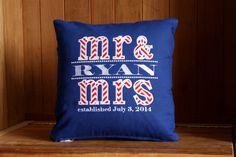Mr  Mrs Pillow Cover | Wedding Gift | Anniversary Gift | Belinda Lee Designs | Block Script