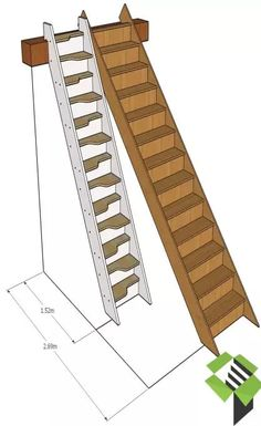 normal staircase vs spacesaver stair stairbox - house and flat decorations Tiny House Stairs, Loft Stairs, Attic Stairs Pull Down, Folding Attic Stairs, Garage Stairs, Timber Staircase, Staircase Design, Small Space Staircase, Space Saving Staircase