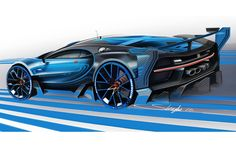 Bugatti Vision Granturismo official press sketch by stephane Lenglin