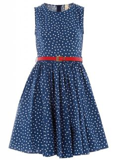 Navy blue polka dotted dress.