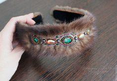 Купить Ободок из меха норки Фантазия3, меховой ободок, ободок в русском стиле - коричневый, разноцветный