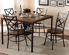 5 Piece Dining Table Set 4 Chairs Wine Rack Wood Metal Kitchen Industrial Retro #BaxtonStudio #ModernIndustrialVintageRetro