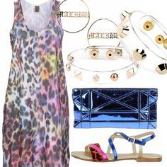 Grintoso, divertente e colorful l'outfit pensato per la discoteca sulla spiaggia. Vestito smanicato maculato multicolor che riprende gli stessi colori dei sandali e della pochette. Orecchini in oro e bracciali in pvc trasparente con borchie per uno stile strong e ironico.