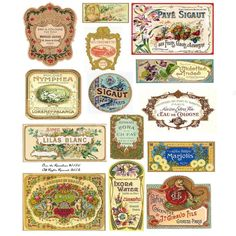 Vintage French Perfume Labels Vintage Perfume Labels by rainebeau
