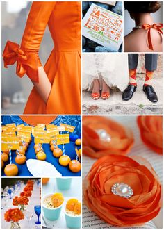Tangerine Tango is one of the hottest colors in the wedding world right now!! This picture is a great example of some fun colors!