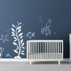 Cherry Walls - Under the Sea Decals - Your little mermaids and mermen aren't confined to dry land with this cool aquatic decal set. A classi...