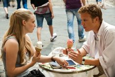 Letters to Juliet.- I love how he looks like he is explaining the national debate to her, oh well, CUTE ICE CREAM SCENE:)