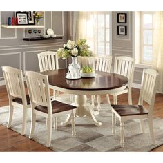 furniture of america bethannie 7 piece cottage style oval dining set overstock shopping - Country Style Dining Room Sets
