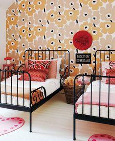 Marimekko twins room. adorable! And those heart rugs? precious! #girlsbedroom  #kidsrooms