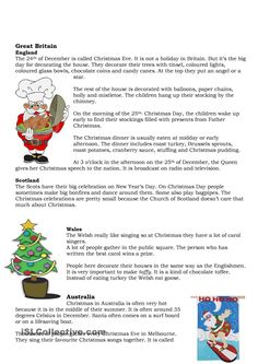 A small folder on Christmas traditions in some English-speaking countries. Christmas Quiz, English Christmas, Xmas, Christmas Worksheets, Christmas Activities For Kids, Christmas Printables, English Lessons, Learn English, English Reading