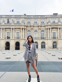 Houndstooth Blazer and Houndstooth Skirt during PFW