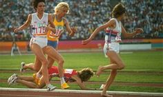 1984 Olympic race when on the fourth lap of the race that Zola Budd's eccentric style of running - barefoot and elbows waggling - brought Mary Decker crashing to the ground. The two collided after Budd had surged to the front of the pack. 1984 Olympics, Summer Olympics, Olympic Venues, Olympic Games, Marion Jones, Olympic Runners, Eccentric Style, Sports Pictures, Documentary Film