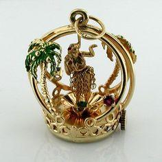 14K Gold Dankner Hula Girl Dancer Living Charm Mechanical Vintage Pendant