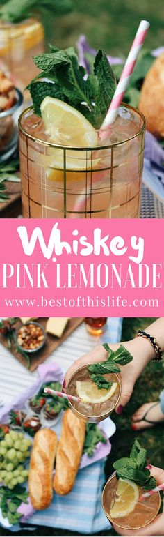 Whiskey Pink Lemonade with Homemade Mint Simple Syrup