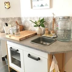 Montessori kitchen set up that is at child height.