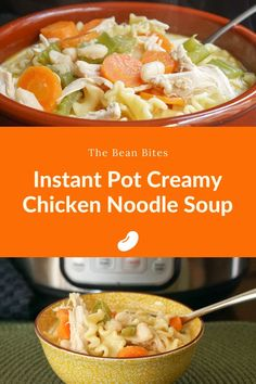 This instant pot creamy chicken noodle soup helps to stretch leftover chicken into a creamy and delicious soup. By adding white beans to the recipe, there's extra protein packed in and an extra layer of creaminess. Cooked with leftover chicken and a lot of pantry staples, this is an easy to make Instant Pot recipe, ready in about 20 minutes.