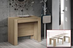 Mesa Consola comedor extensible. 4 en 1 De cónsola a mesa extensible de 236 cm en un solo mueble Space Saving Dining Table, Dinning Tables And Chairs, Table For Small Space, Dining Room Table, Expand Furniture, Space Furniture, Home Decor Furniture, Cool Furniture, Furniture Design