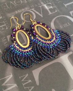 Beaded Fringe Earrings Metallic Peacock Seed Bead by WorkofHeart
