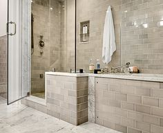 Beautiful Bathroom Showers - love the gray tile