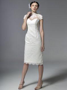 $198.98 Sheath Column High Neck Short Length Lace dress with Lace -Wedding Dresses-DeniseDress