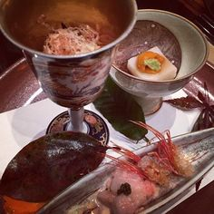 Boiled chrysanthemum vegetable with herring roe seaweed, cashew nut tofu with sea urchin, sweet shrimp mixed with Japanese yam and land caviar at Nadaman.  Thanks @theorb33 for sharing this photo.