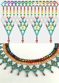 This Pin was discovered by HatPin by Elena Nitchman Culcer on Beautiful Beaded Jewelry, etc . Diy Necklace Patterns, Seed Bead Patterns, Beaded Jewelry Patterns, Beading Patterns, Bead Jewellery, Seed Bead Jewelry, Seed Bead Necklace, Beaded Earrings, Jewelry Crafts