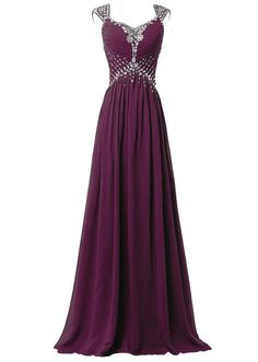 2282951ecad Neweer Women s V-neck Cap Sleeve Prom Gowns Long Chiffon Mother Patry Dress  Burgundy