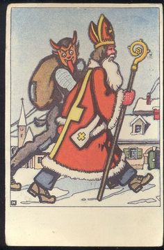 Vintage Old Postcard Santa Claus and Devil - Buffer Walks in the city Christmas #Christmas