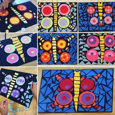 Definitely making these mosaic butterflies as soon as spring finally arrives! These were made by my & Grade summer art students… Third Grade Art, 2nd Grade Art, Summer Camp Art, Art Camp, Spring Art Projects, Kindergarten Art Projects, Collage, Art Lessons Elementary, We Are The World