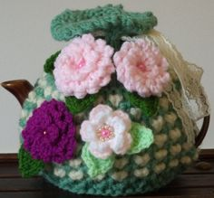 shabby chic......hand knitted, crocheted and beaded small 2 cup tea cosy