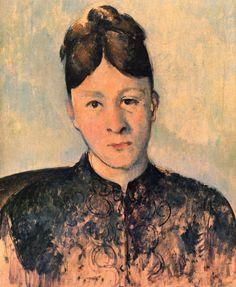 Portrait of Madame Cezanne - Paul Cezanne #cezanne #paintings #art