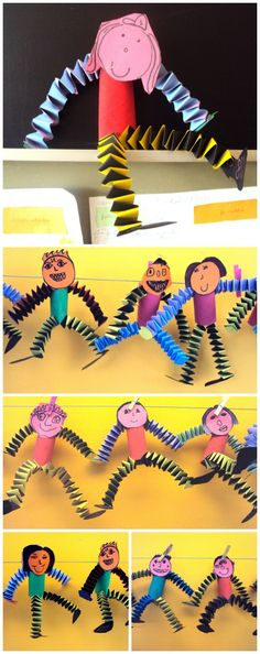 little people made from a cardboard cylinder and coloured paper springs