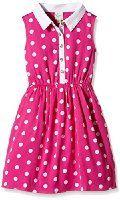 Yumi Girl's Spot Shirtdress (Pink) Polka Dot Dress