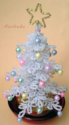 Jewelry Craft Ideas - Pandahall.com beaded christmas tree love the white and pastel colors