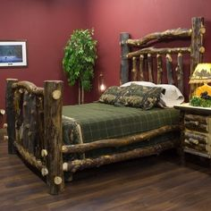 Love this rustic log bed!