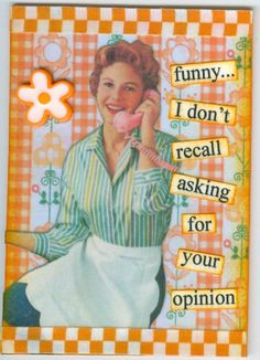 INFJs' insights are rarely appreciated, that's why we're so quiet.  previous pinner: Funny I don't recall asking for your opinion.   - Quote by Anne Taintor