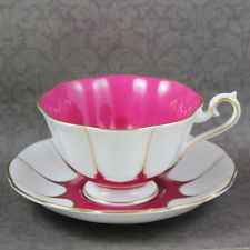 Vintage Royal Albert Bright Pink, White and Gold Vintage Tea Cup