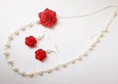 Jewelry polymer clay roses sets for woman gift by Monybijoux