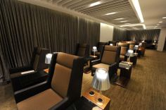 Singapor Airlines : First Class section of SilverKris Lounge at Melbourne International Airport Airport Lounge, International Airport, Melbourne, Airports, Lounges, Interior, Table, Furniture, Design
