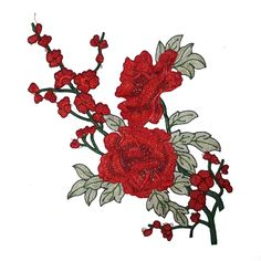 Red Embroidered Roses Flowers Patches Appliques for Sewing and Embellishment #flowerpatch #craftsupplies #patchapplique #diyfashion